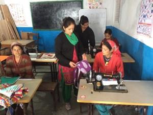 Sewing classes in Jordi village center.